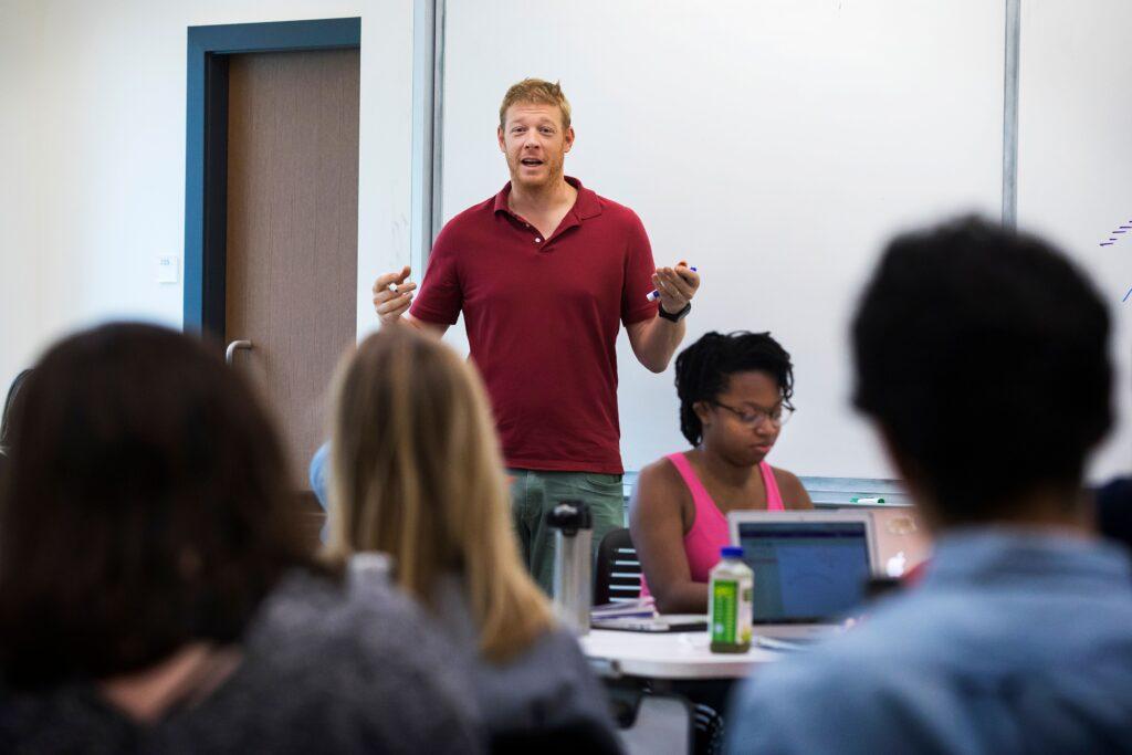 Brad Johnson teaching in the Wall building